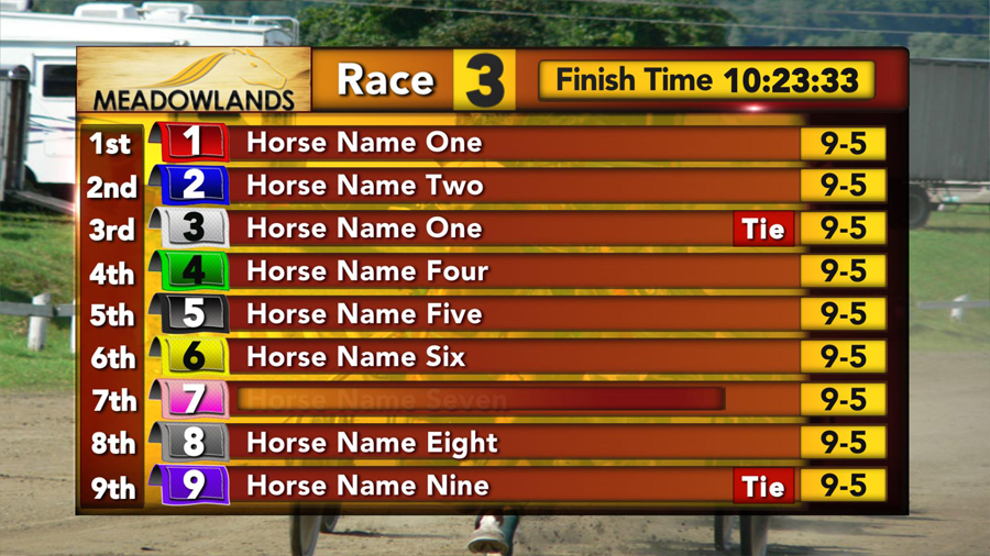 Meadowlands Race Track Order Of Finish